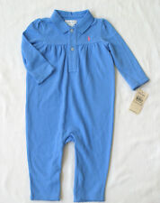 NWT Ralph Lauren Girl's Polo Cotton  Coverall Romper Long Sleeve / Size 9M