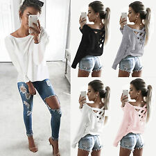 Fashion Womens Ladies Sexy Long Sleeve Shirt Casual Blouse Loose Tops T-Shirt