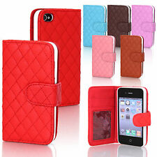 New Wallet Leather Flip Quilted Soft Mattress Case Cover For iPhone 4 4s 5 5s 5G
