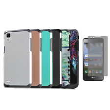 Phone Case For LG Tribute HD 4G Rubberized Hard Dual Layer Cover Case + Film