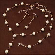 Multilayer Fashion Pearl Necklace Bracelet Earrings Gold Plated Jewelry Sets YF
