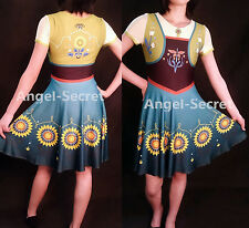 FJ525 Anna costume frozen fever women cosplay one piece ice skating dress casual