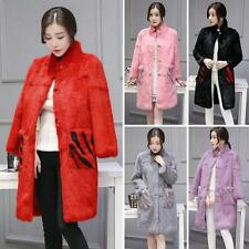 hOT nEW 100% Real Whole Rabbit Fur Coat Women Fur Long Coat with Stand Collar YT