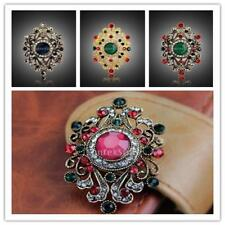 European Retro Jewelry Flower Diamante Gold Rhinestone Brooch Pin Christmas Gift
