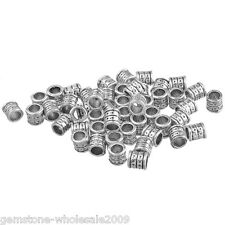 Wholesale Lots Silver Tone Spacer Tube Beads 6x6mm