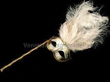 venetian Masquerade ball Ostrich feather stick Mask Christmas Costume Prom Party