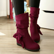 Womens Bowknot Faux Suede Ankle Boots Flats Hidden Wedge Slouch Shoes Winter NEW