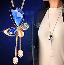 Crystal Butterfly Tassel Pendant Statement Women long Chain Necklace Jewelry