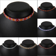 Gothic Embroidery Boho Choker Chunky Collar Statement Necklace Fashion Jewelry