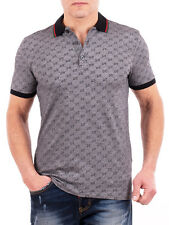 Gucci Polo Shirt, Mens Gray Short Sleeve Polo T-Shirt - GG Print - All Sizes