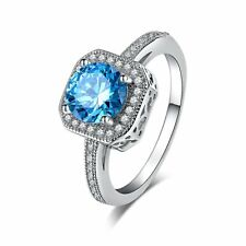 Women's Exquisite Silver Plated Cubic Zirconia Aquamarine Wedding Fashion Rings!