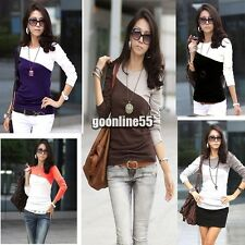 Round EA9  Neck T-Shirt  5 Colors Trendy New Womens Splice Casual Long  Sleeve