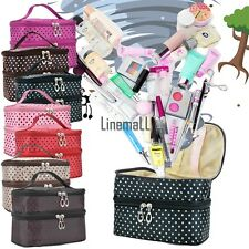 Double Layer Portable Cosmetic Case Women Beauty Makeup Hand Case Bag Pouch LM