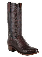Lucchese Men's 1883 N1142.R4 Brown Caiman Belly and Smooth Ostrich Exotic Boots