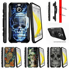 For HTC Bolt | HTC 10 Evo Rugged Holster Clip Kickstand Case Blue Flame Skull
