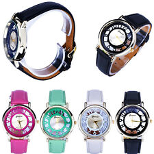 Fashion Classic Hollow Womens Analog Quartz Leather Wrist Watch Lady 4 Colors