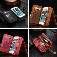 Portable Flip PU Leather Zipper Wallet Purse Card Cover Case For iPhone Samsung