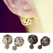 ELEGANT DOUBLE SIDES TWO HOLLOWED GOLD PLATED BALLS WOMENS EAR STUDS EARRINGS