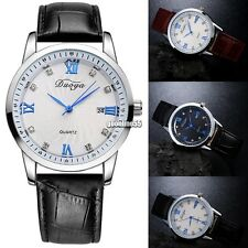 New Men Fashion Casual Artificial Leather Band Round Dial Quartz Watch EA9