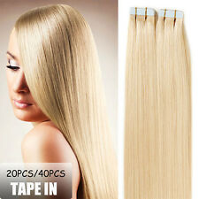 "AAAA+ 16""-24"" Tape In Seamless Skin Weft Real Remy Human Hair Extensions US I372"