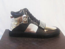 NIB GUCCI Men BLACK/SILVER LIMITED EDITION HIGH TOP Leather SNEAKERS 10 10.5 11