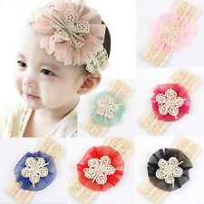 1 Pcs Toddler Headband Lovely Lace Flower Hairband 6 Colors for Baby Girls EV
