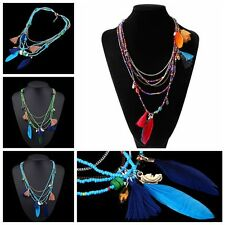 Long  Tassel Feather Pendant Multilayer Necklace Ethnic Stylish Beads Chain