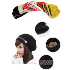 Fashion Women Braided Winter Rageared Warm Baggy Beanie Knit Crochet Ski Hat Cap
