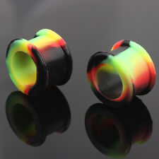 Pair Multi Colour Silicone Ear Plug Double Flare Flesh Tunnel Expander Stretcher