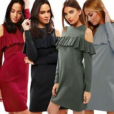 LADIES CASUAL LONG SLEEVE CUT OUT RUFFLE FRILL COLD SHOULDER DRESS TUNIC 8-14