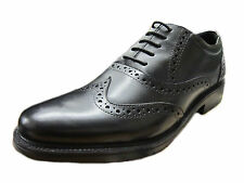 MENS LEATHER BLACK LACE UP HUSH PUPPIES SHOES 'ROCKFORD BROUGE'