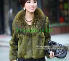 Womens Jacket Outwear Fox Fur Collar Real Genuine Rabbit Fur Garment Coat Warm @