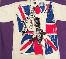 Punk T-shirt Sex Pistols Anarchy in the UK Union Jack Punk Flag Light Grey L  XL