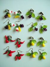 Vintage 1940s 1950s Reproduction Glass Fruit Earrings - Pierced