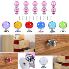 10x Crystal Glass Ball Door Knobs Drawer Cabinet Kitchen Pull Handle Colorful G