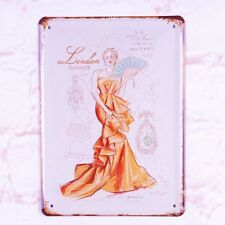 Metal Tin Sign Pin Up Lady  London Glamour Retro Home Pub Bar Wall Decor
