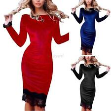 Womens Long Sleeve Evening Party Cocktail Lace Bandage Bodycon Velvet Mini Dress