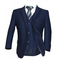 Italian Page Boy Wedding Suit in Navy Blue Boys Dark Navy Blue Piping Suit
