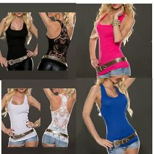 Summer Sexy Women Lady Sexy Sleeveless Shirt Blouse Tank Tops Lace Vest BG