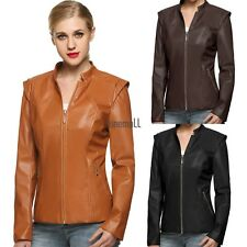 Women Slim Fit Short outerwear Synthetic Leather Jacket Coat Zipper Pocket LM