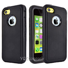 Heavy Duty Hybrid Rugged Hard Back Case Cover for iPhone 5C 5/5S SE + Protector