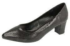 "LADIES SPOT ON BLACK SNAKE PRINT POINTED TOE COURT SHOES ""F9807"""