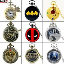 Retro Steampunk Watch Vintage Pocket Watch Quartz Pendant Necklace Chain Gift UK