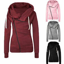Women Ladies Plain Hoodie Fleece Sweatshirt Hooded Jumper Coat Hoodys Zip Jacket