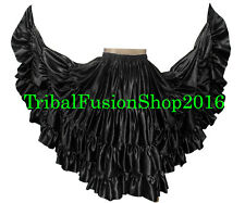 Black Satin Gypsy 25 Yard 4 Tiered Skirt Tribal Belly Dance 25 Yd Skirt ATS JUPE