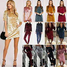 Women Crushed Velvet Mini Dress/ Playsuit /2pcs Tracksuit Set Party Casual Gym