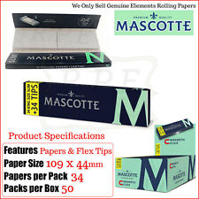 Mascotte Kingsize Slim Rolling Papers & Flex Filter/Roach Tips - 2/4/6/12 & Box