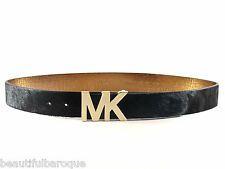 Michael Kors 553377 Chocolate Brown Dyed Cow Fur Leather MK Logo Belt NWT Size M