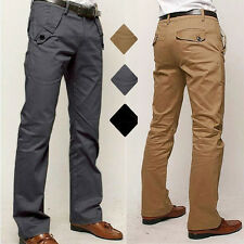 Mens Chino Pants Formal Trousers Straight Leg Office Business Work Dress Pants