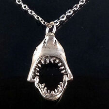 "Shark ""Jaws"" Charm Necklace, Silver or Bronze, Handmade Free Ship Unique Gift"